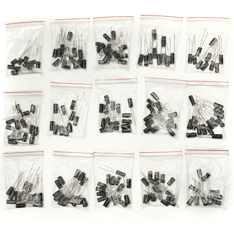 2017 Hot New 200Pcs 15 Value Electrolytic Capacitor Assortment Kit (1uF~220uF) Capacitors Assorted Set On Sale