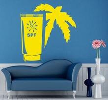 Loja de beleza Decalque Da Parede Do Vinil Sol SPF Creme Bronzeado de Verão Palm Spa Salon Mural Adesivo de Parede Salão de Beleza Loja de Comestics decoração