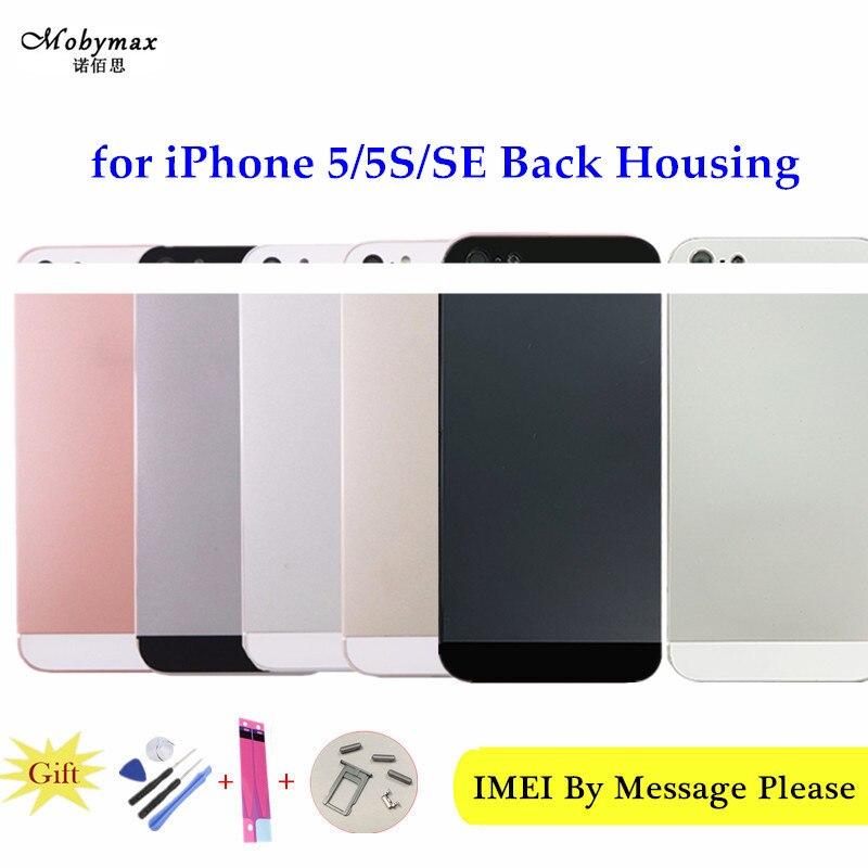 Chasis Fundas cubierta trasera para el iPhone 5 5S SE A1723 Fundas Coque de la cubierta de la batería + logotipo y botones y Sim bandeja + Sticker + número IMEI personalizado