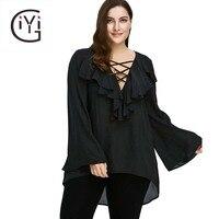 GIYI Plus Size 5xl Ruffle Front Long Flare Sleeve Lace Up Blouse Shirt Women Clothes Autumn