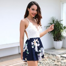 sexy beach plus size playsuit romper backless lace chiffon floral women romper summer one piece shorts