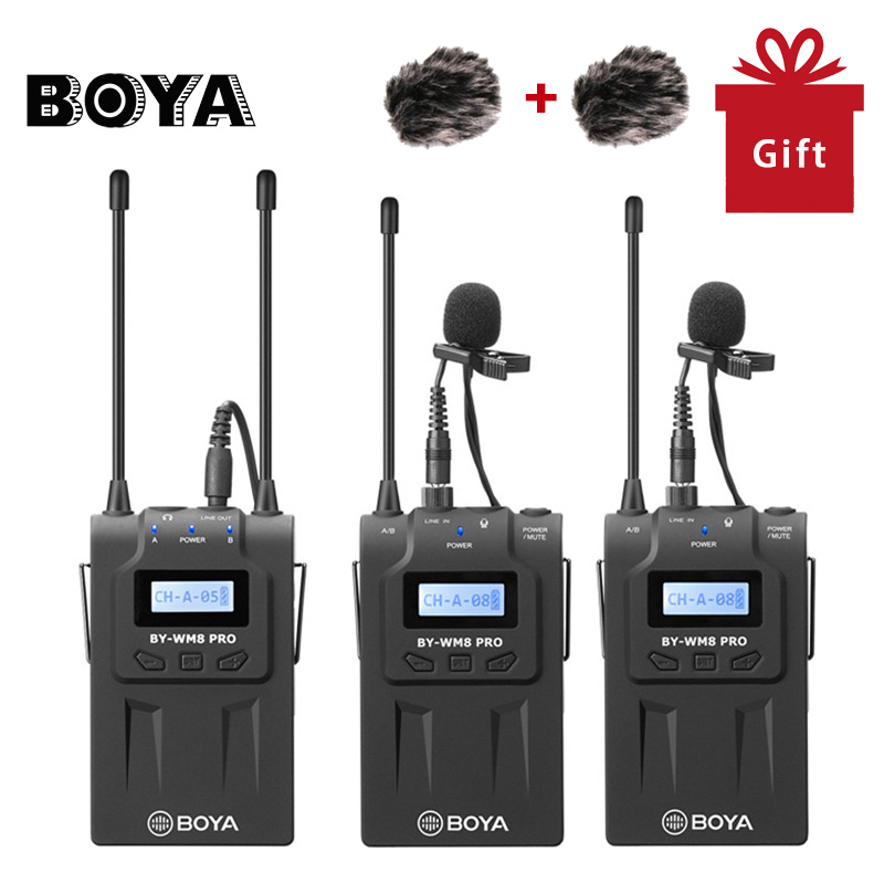 BOYA BY WM8 Pro K2 Dual Channel Wireless Lavalier Microphone System for iPhone for Canon Nikon