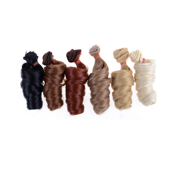 1PCS brown khaki black high temperature heat resistant doll hair For 1/3 1/4 1/6 BJD curly doll wigs DIY doll wigs image