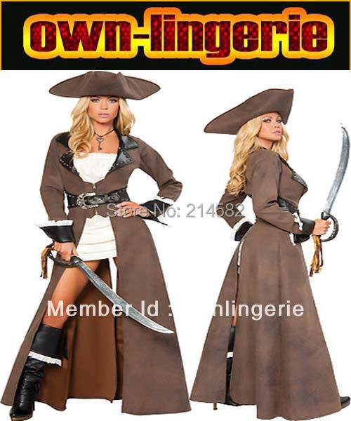 Carnival pirate Costume adult woman brown color Viking cosplay high quality pirate costume for woman 4588