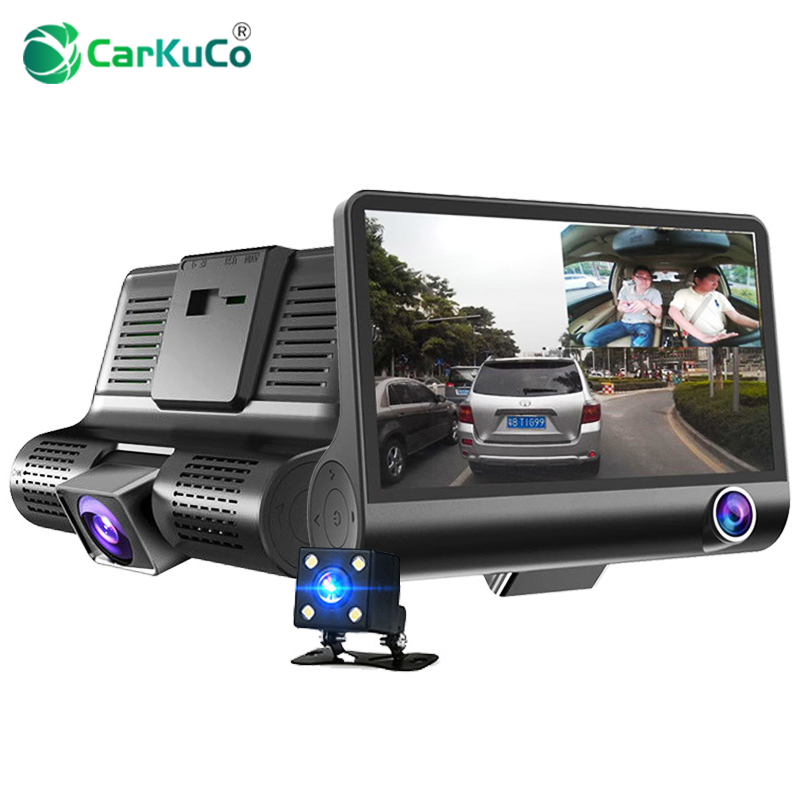 4 Inch HD 1080P 3 Len Car DVR Camera New Dual Lens Vehicle Camcorder Dash Cam G-sensor Video Recorder DVR Rearview Mirror Camera цена