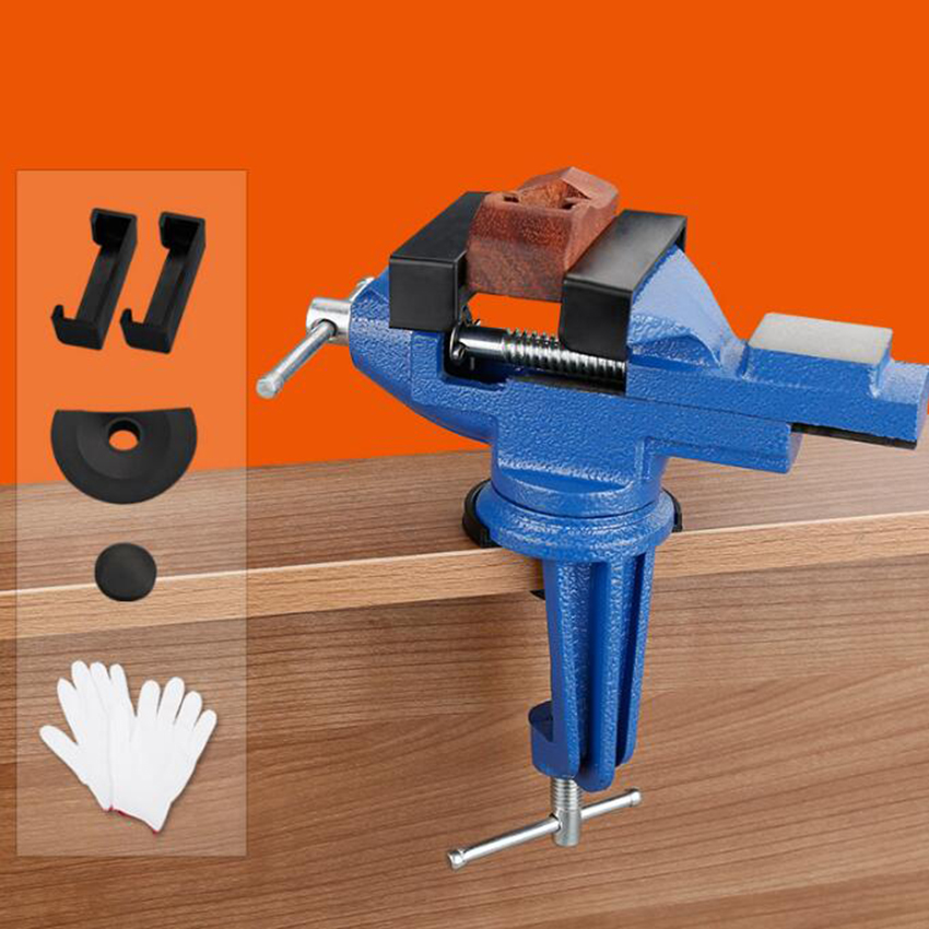 60mm Mini Vice Model Clamp On Swivel Base Steel Vice Table Top Workbench Desk