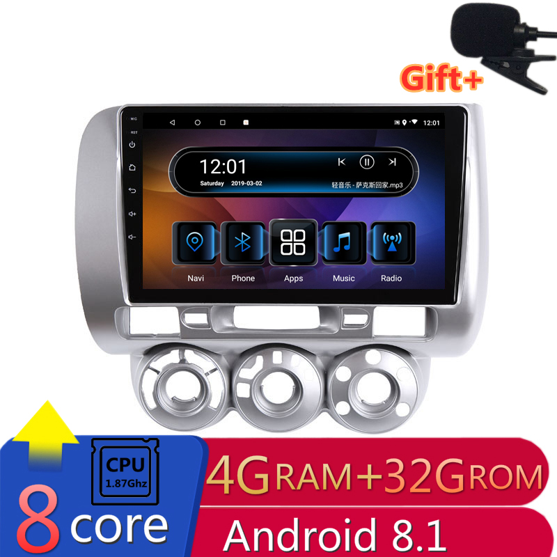 "9"" 4G RAM 2.5D IPS 8CORE Android 8.1 Car DVD Multimedia Player GPS For honda Fit jazz 2004 2005 2006 2007 audio radio navigation"