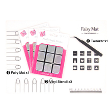Fairy MAT+ 3pcs Reusable Vinyls Sticker Stencil+ Tweezer Pro Nail Art Mat Sets Silicon Table Cover Protector Manicure Guides