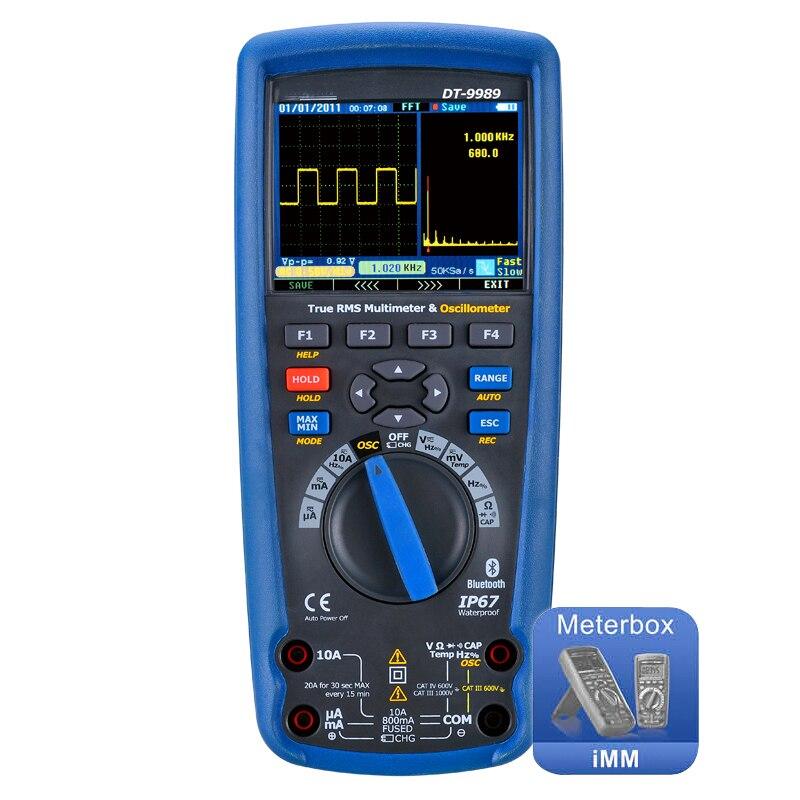 Numérique multimètre oscilloscope LCD écran Couleur usb DT-9989 Professionnel actuel tension test électricien outils
