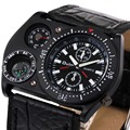 2016 OULM Reloj de Cuarzo de Los Hombres Clásicos Calidad Negro Caso Brújula Temperatura Dial Correa de Cuero relojes de Lujo para hombres + Caja de REGALO