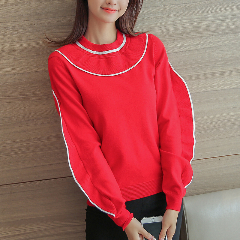 new korean fashion women round collar pullover sweaters lady casual basic knitwear girl o neck sweat knit clothes red black