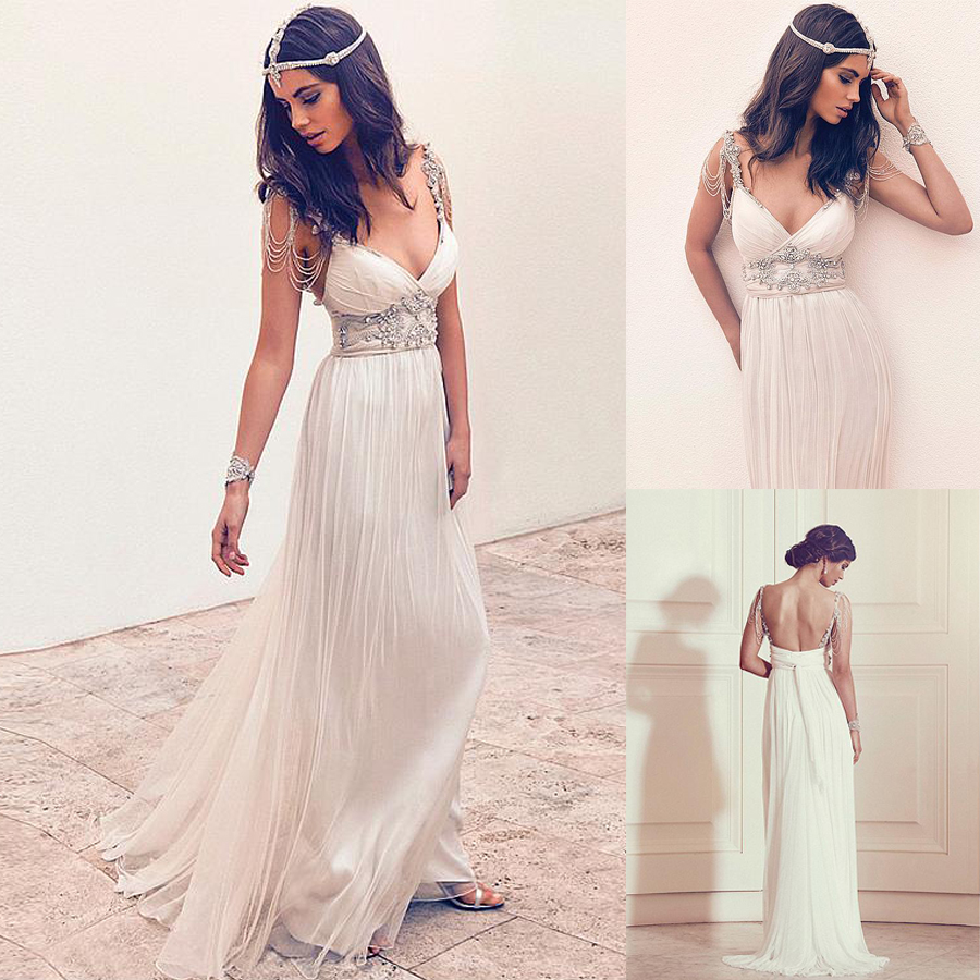 Xquisite Silk-like Chiffon Spaghetti Straps Neckline A-line Wedding Dresses With Beadings Empire Waist Bridal Gowns