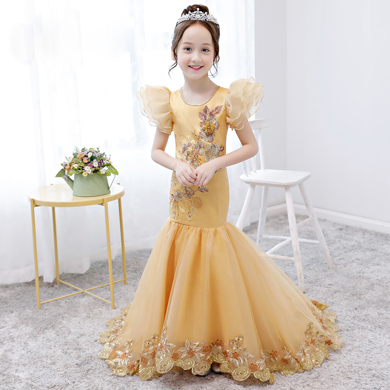 f2595c4efe28 Luxury Gold Birthday Gown Girls Formal Mermaid Dress Long Tailing Appliques  Flower Girl Dresses Puff Sleeve Tutu Princess Dress