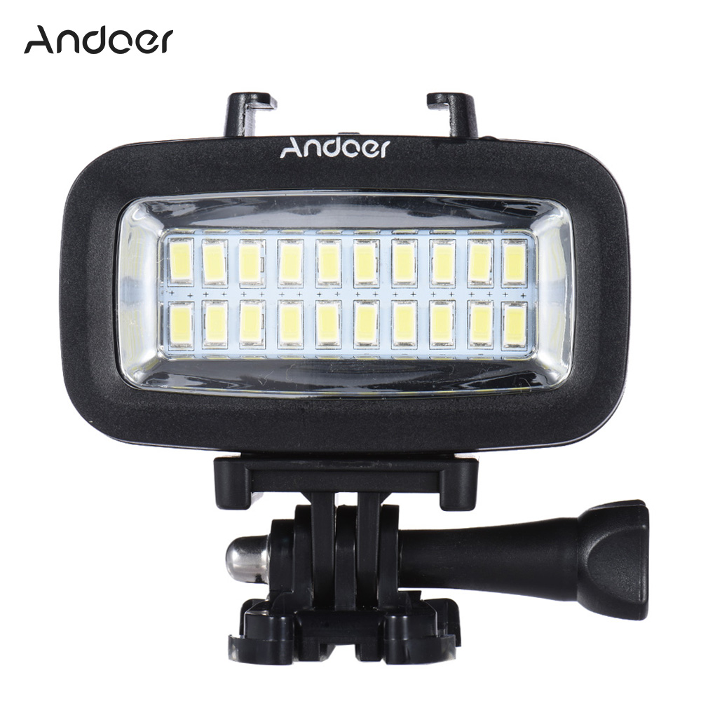 Andoer Diving Fill in Light High Power 700LM LED Video Light Lighting Waterproof 40M 1900mAh Built
