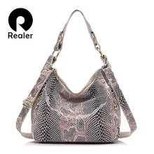 Realer Brand woman handbag genuine leather tote bag female classic serpentine prints shoulder bags ladies handbags messenger bag