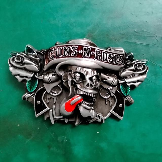 1 Pcs Guns N Roses Skull Rock Music Cowboy Belt Buckle For Men Women Western Cowgirl Belt Head