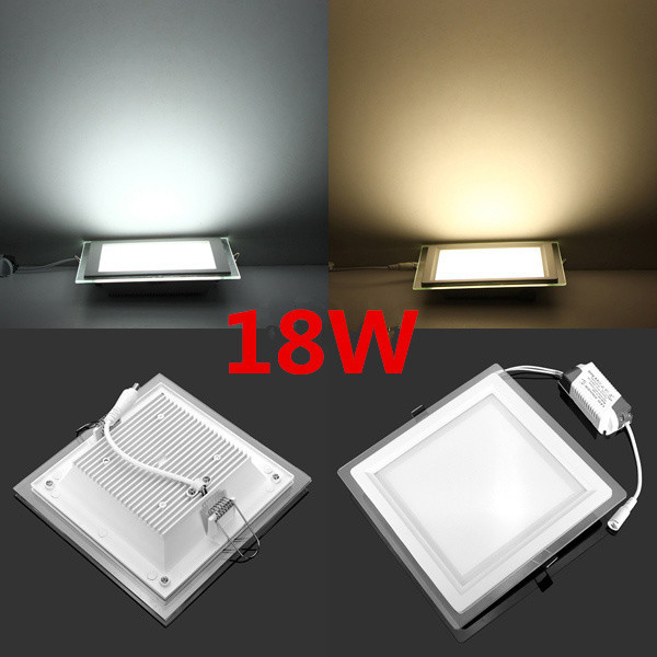 new Dimmable LED Panel Downlight Square Glass Panel Lights High Brightness Ceiling Recessed Lamps For Home SMD5730 AC110V AC220V