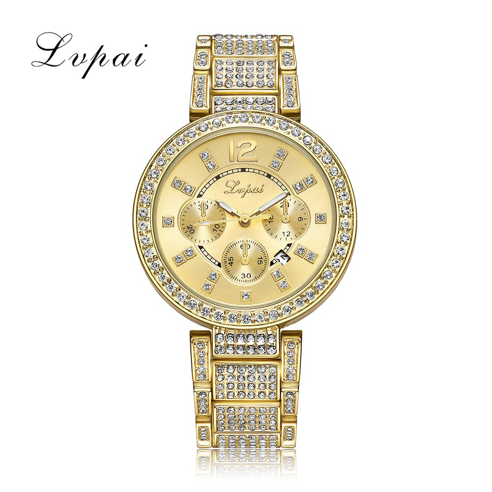 Lvpai Brand Women Steel Watch Ladies Luxury Dress Fashion Quartz Wristwatch Classic Crystal Gold Bracelet Women Watch Clock fashion women s sparkle crystal bracelet quartz dress watch