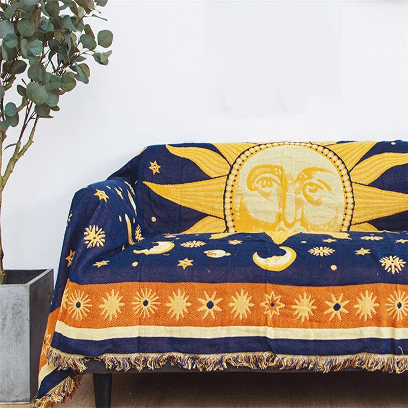 Américain Vintage soleil dieu Jacquard tricoté jeter couverture gland Chunky canapé couverture coton soleil lune couverture serviette décor Textile