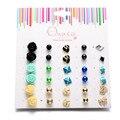 15 pairs серьги Эмали Роза Шпилька Серьги Для Женщин Горячая Симпатичные Серьги Наборы Дизайнер Серьги Ювелирные Изделия