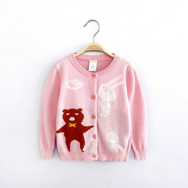 Новое прибытие детская весна осень свитер мультфильм медведь кролика мода новорожденных девочек свитера бренд трикотажные качество дети кардиган