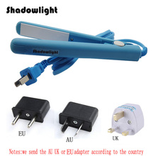 Blue New Professional 100~240V Mini Ceramic Electronic hair straighteners irons curling Straightening hair tools