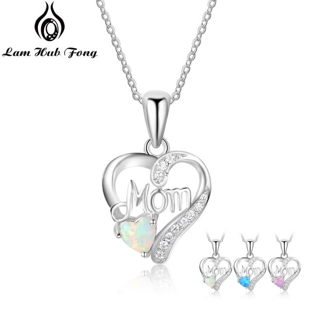 Genuine 925 Sterling Silver Women Necklaces Pendants With Heart Shape Opal Stone