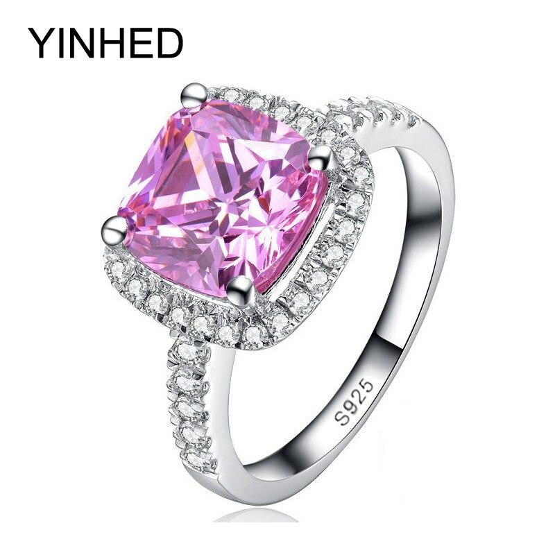 YINHED Brand Wedding Ring Stamp S925 Princess Cut 4 Carat Pink CZ Diamant Engagement Rings for