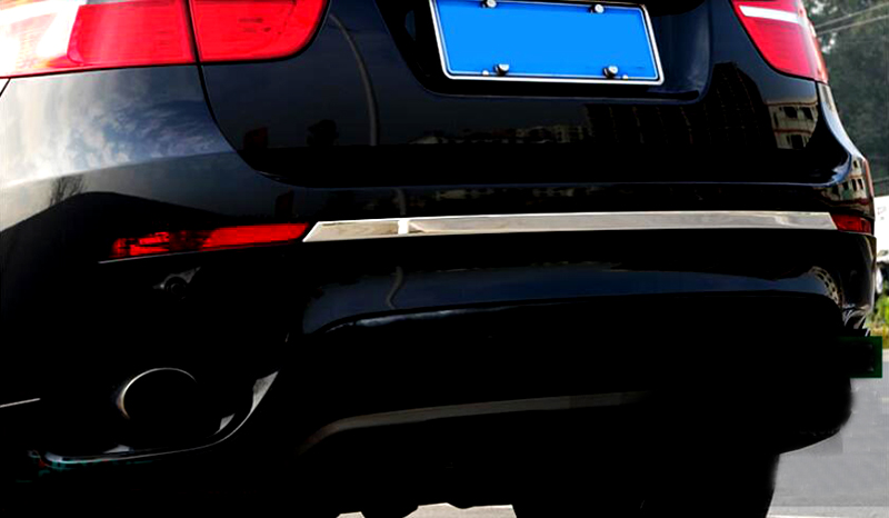 For BMW X6 E71 2009 2014 Stainless Steel Chrome Rear Trunk Bumper Moulding Decorative Cover Trim