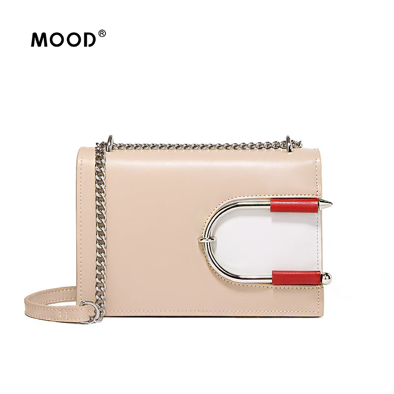 MOOD Personality female package 2017 new contracted joker cowhide little bread color one shoulder bag free shipping free shipping 2014 boom bag leisure contracted one shoulder bag chain canvas bag page 4
