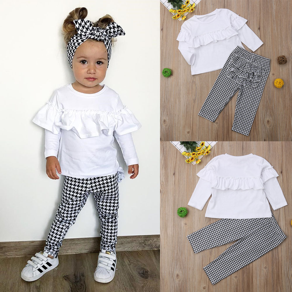 2PCS Toddler Kids Baby Girl Outfits Clothes Set Ruffle Tops Dress+Pants Leggings