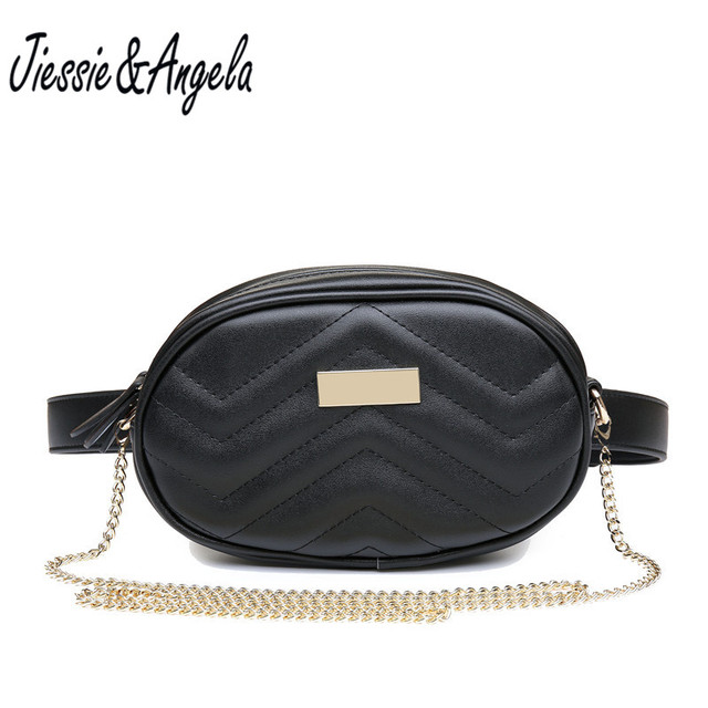 Jiessie & Angela Fashion Women Leather Waist Bags Women Chain Shoulder Bag Lady Suede Fanny Pack Belt Travel Zipper Small Bags