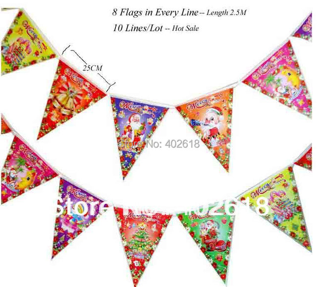 (10 Lines/Lot) Holiday Sale, Christmas Flags, Xmas Small Flags,
