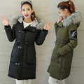 Winter Warm Padded Cotton Jacket Women Slim Long Coat Zipper Fur Hooded Ladies Outwear