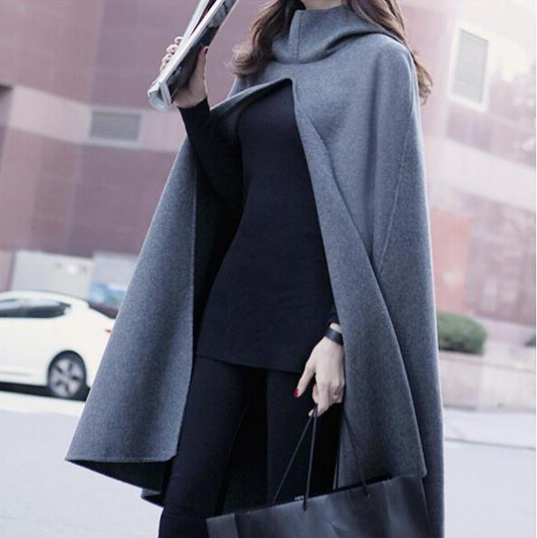 8e703eadee8 autumn and winter clothes new wave hooded woolen cape coat jacket women coat  long shawl S-L