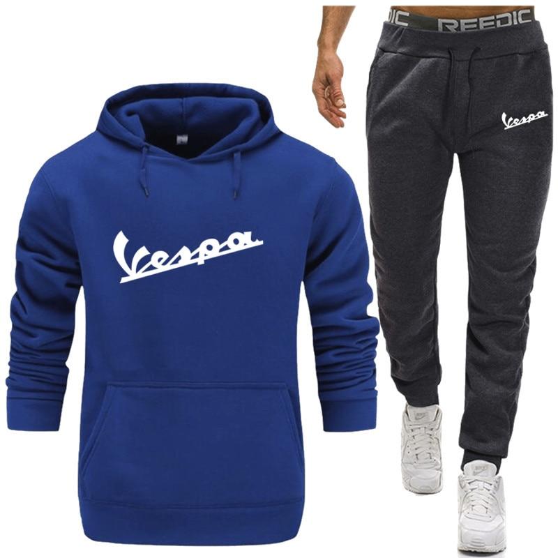 2019 Men Two Pieces Set New Fashion Hooded Sweatshirts Sportswear Men Tracksuit Hoodie Autumn Men Vespa Brand Hoodies+Pants Sets
