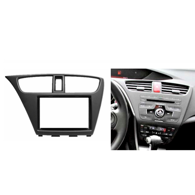 for HONDA Civic Hatchback 2012+ Double Din Fascia Radio CD GPS DVD Stereo CD Panel Dash Mount Installation Trim Kit Frame liislee 2 din plastic frame panel for alfa romeo giulietta 940 2010 2016 aftermarket radio stereo dvd gps navi installation