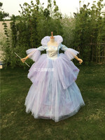 Free shipping new Cinderella Costume Ella Enchanted Princess fairy Godmother Cosplay dress for women/kids for party