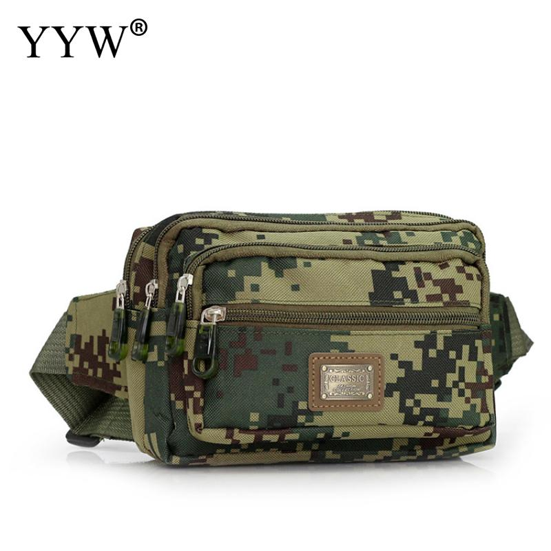 все цены на Nylon Men's Waist Bag Money Belt Bag Men Camouflage Fanny Pack More Pockets Hip Bags Hardwearing Army Green Military Waist Packs
