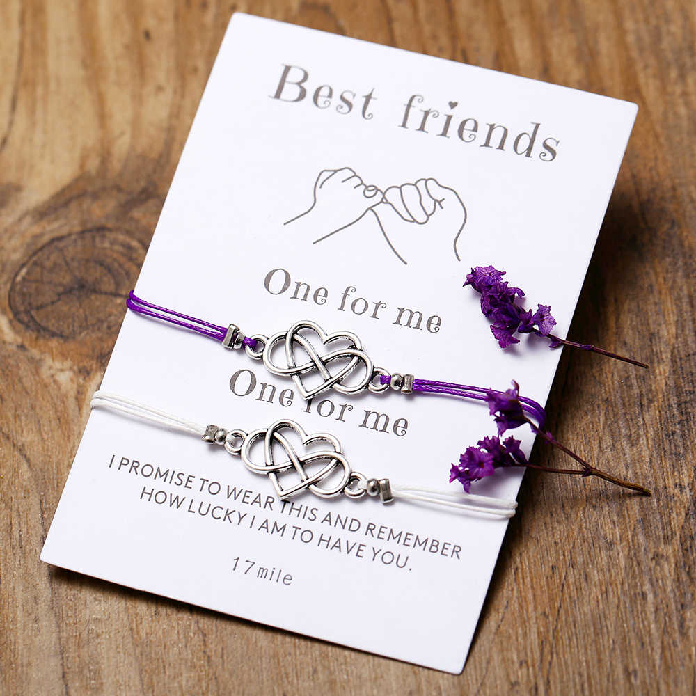2 unid/set de pulsera conmemorativa de aleación de amor de cartón para mujeres, pulseras para hombres, pulseras combinadas, pulseras para parejas