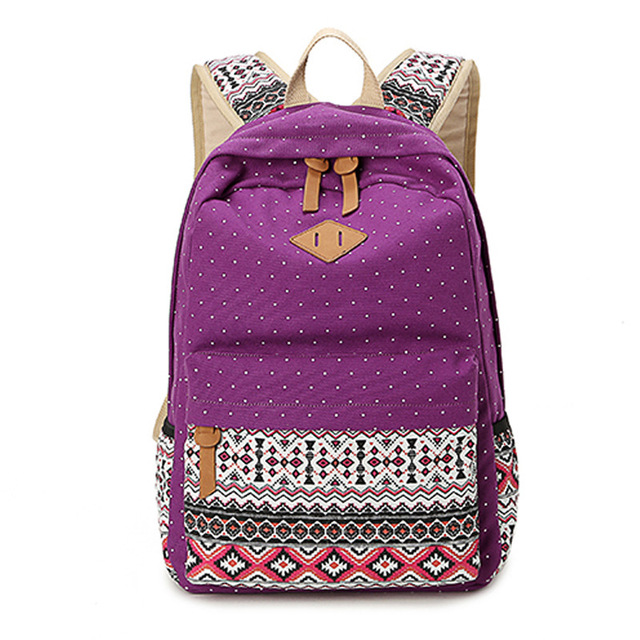 800036cf53 US $23.78 |Ethnic Women Backpack for School Teenagers Girls Vintage Stylish  Ladies Bag Backpack Female Purple Dotted Printing High Quality-in ...