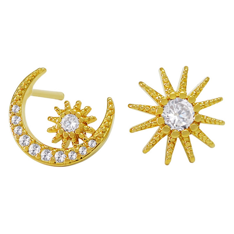 2019 New Style Gold Color  Moon Star Stud Earrings Women Jewelry Sun Moon Earring Studs Girl Christmas Gift