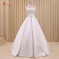 Jark Tozr На Заказ Свадебный платья Vestido De Noiva с плеча без бретелек красный, белый лук простой сатин турецкие свадебные платья