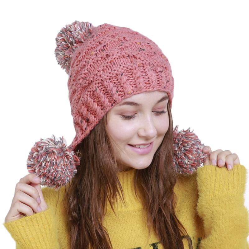 Women's Winter Hat Brand Ladies Stretchy Crochet Hats Stylish Pompom Earflap Cap Euramerican Style Woman Beanie Knitted