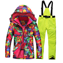 2016 winter ski suit female with geometry printing thicken thermal skiing jackets + women ski pants sets lady snowboarding coats