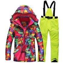2016 hiver combinaison de ski féminin avec géométrie impression épaissir thermique ski vestes + femmes ski pantalon ensembles dame snowboard manteaux