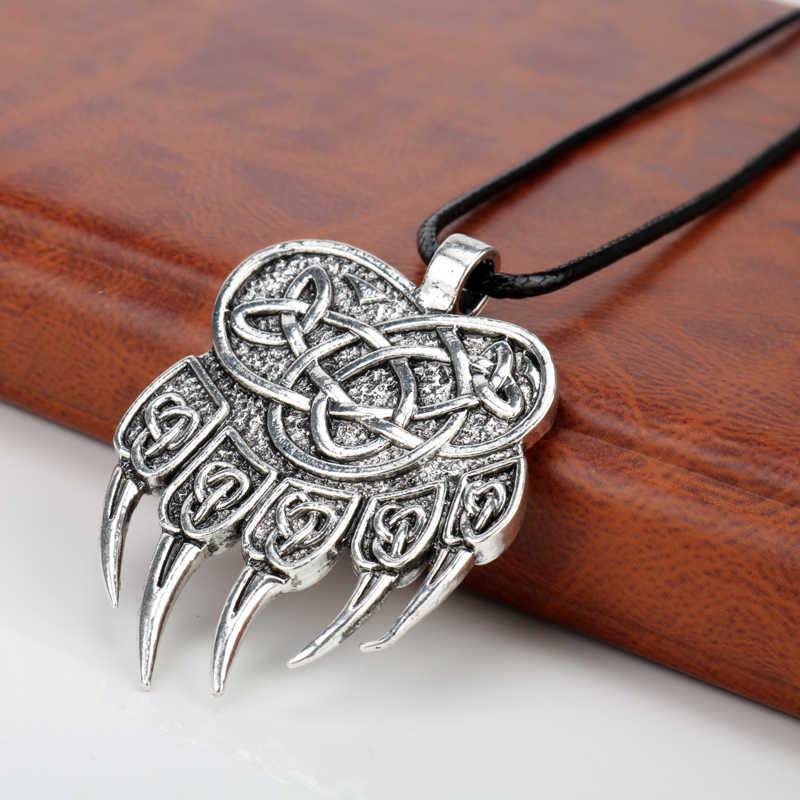 Viking Jewelry Wolf Claws Pendant Necklaces Pendants Men Women Punk Nordic Runes Bear Paw Talisman Amulet Necklace Gift