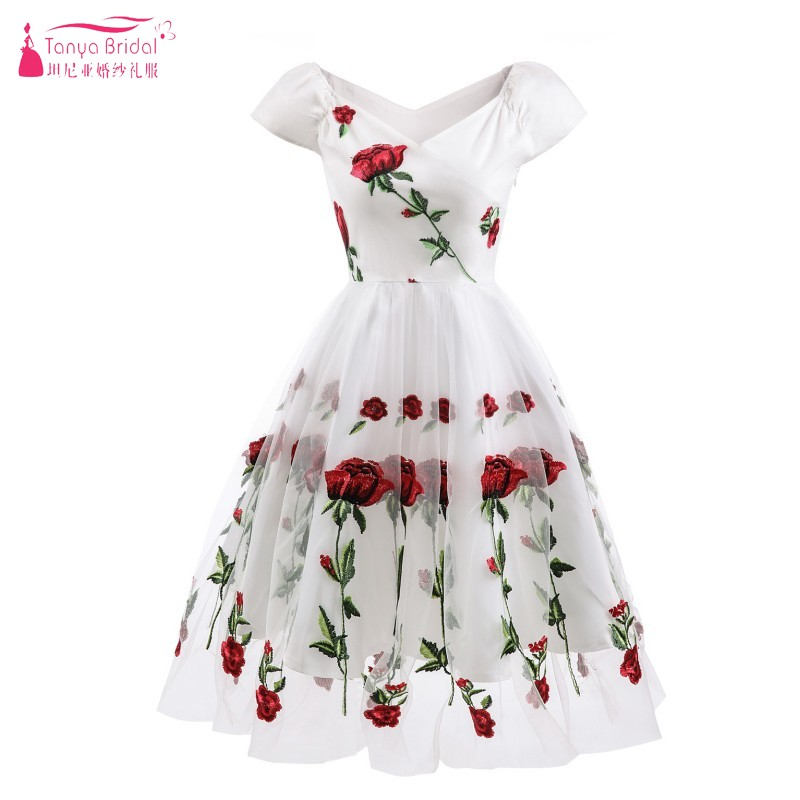 V Neck Off The Shoulder A Line Knee Length Embroidery Cocktail Dresses Australia Party Dresses Gown