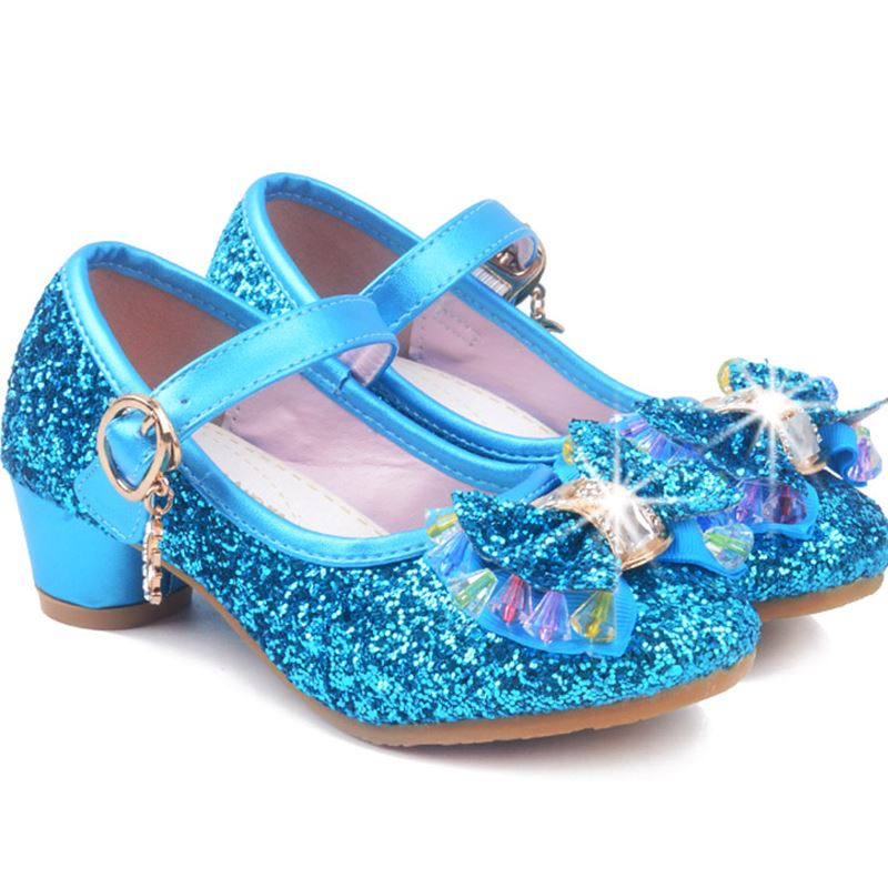 Childrens Sequins Shoes 2018 Baby Girls Wedding Princess Kids High Heels Dress Party Shoes For Girl 4 colour