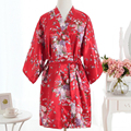 Vintage Ladies' Satin Short Nightgown Sleepwear Chinese Women Robe Dress Gown Vintage Kimono Yukata Lounge Nightwear Pajamas